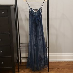 Navy blue long evening dress- XS
